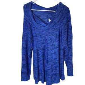 INDIGO women's plus sweater cowl neck 1X blue blk